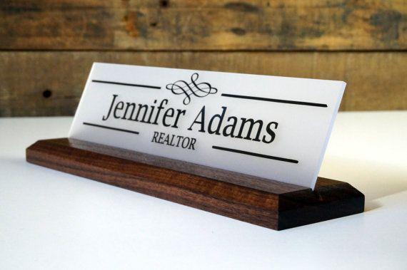 Wooden Base Acrylic Desk Nameplate 2